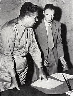 General Leslie Groves (left) was appointed the military head of the Manhattan Project, while Robert Oppenheimer (right) was the scientific director.