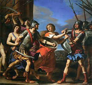 Hersilia - Hersilia Separating Romulus and Tatius (1645) by Guercino