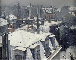 Vue de toits (Effet de neige) - Image: Gustave Caillebotte Rooftops in the Snow (snow effect) Google Art Project