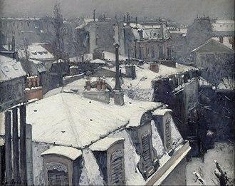 Vue de toits (Effet de neige) - Image: Gustave Caillebotte Rooftops in the Snow (snow effect) Google Art Project