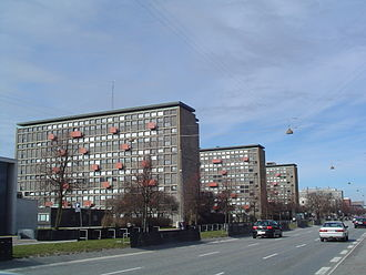 North Campus (University of Copenhagen) - Buildings D, C and B (left to right) of the H. C. Ørsted Institute, as seen from Nørre Allé