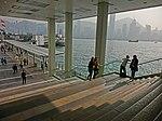 HK 尖沙咀 TST 海港城 Harbour City Ocean Terminal marble stone stairs view Victoria Harbour piers sunshine 15-Mar-2013.JPG