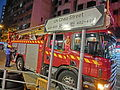 HK Cheung Sha Wan Night Cheung Wah Street Un Chau Street name sign n traffic accident fire engine car Nov-2013.JPG