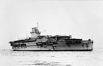 Courageous-class aircraft carrier - Courageous at anchor (circa 1935)