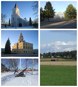 Hamina - Clockwise from top-left: St. Mary's Church, the Reserve Officer School, the countryside of Husula neighbourhood, a view from the Sailor Pavilion towards Tervasaari and the historical Town Hall.