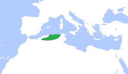 The Hammadid dynasty (green), c. 1100.