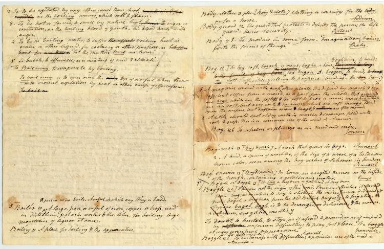 Handwritten drafts of dictionary entries Noah Webster