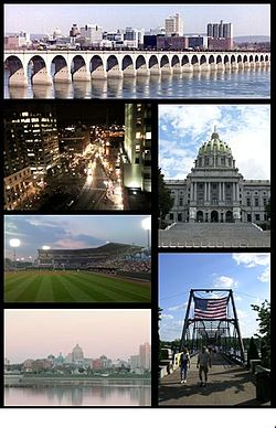 Frae tap tae bottom, left tae richt: Harrisburg skyline; Market Square in Downtown Harrisburg; Pennsylvania State Capitol; Metro Bank Park; Walnut Street Bridge; Susquehanna River