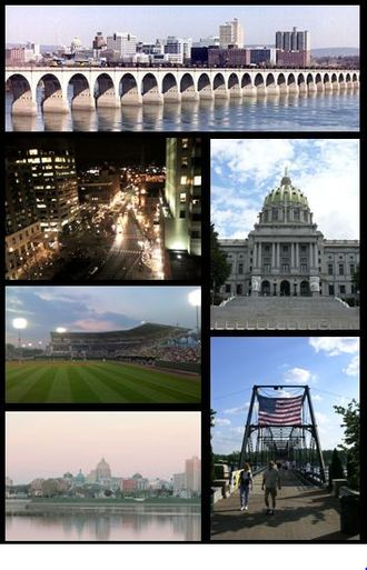 Harrisburg, Pennsylvania - From top to bottom, left to right: Harrisburg skyline; Market Square in Downtown Harrisburg; Pennsylvania State Capitol; FNB Field; Walnut Street Bridge; Susquehanna River