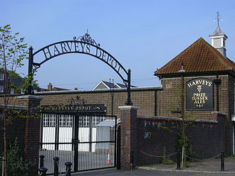 Harveys Brewery - The brewery's former depot (beside Lewes railway station) in April 2007