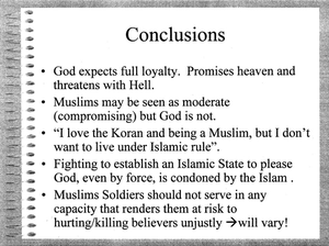 Nidal Hasan - Slide 49/50 of The Quranic World View As It Relates to Muslims in the U.S. Military, a presentation made by Hasan during a symposium of U.S. Army physicians at Walter Reed Army Medical Center