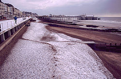 Hastings Pier and beach in the Winter