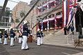 Hawaii Royal Guard present arms to the Governor Neil Abercrombie, Brigadier General Stanley Osserman Jr and Prince David Kawananakoa.jpg