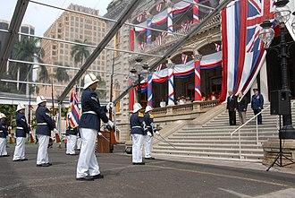 Royal Guards of Hawaii - Image: Hawaii Royal Guard present arms to the Governor Neil Abercrombie, Brigadier General Stanley Osserman Jr and Prince David Kawananakoa