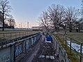 Helsinki harbour railway cutting towards South Harbour, 2021 April.jpg