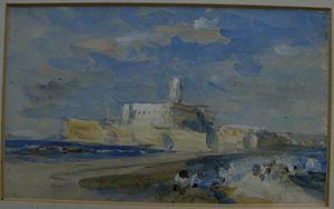 Hercules Brabazon Brabazon - A coastal scene, believed to be Mont Saint-Michel