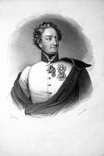 Heroic print of wavy-haired man in white uniform with a single row of buttons partly covered by a dark cloak