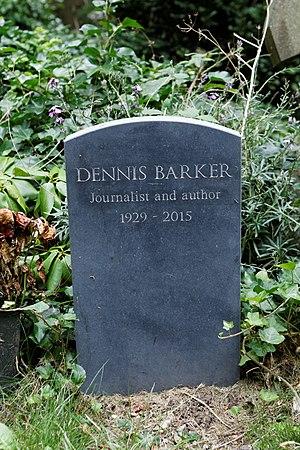 Dennis Barker - Barker's grave in Highgate Cemetery.