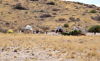 Himba people - Typical Himba village near Uis in Namibia (2014)