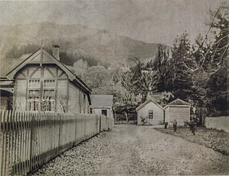 Queenstown Police Station - An historic photo of Queenstown Police Station.  The wooden picket fence remained into the 1990s, and the stone bridge can still be seen today.