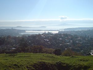 Orakei - View of Hobson Bay looking northwards with Orakei visible in the far right distance, under Rangitoto Island
