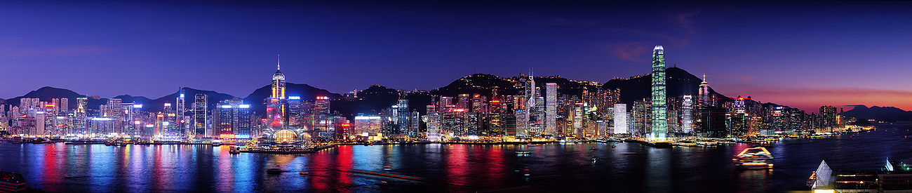 Nighttime panoramic view of Hong Kong Island from the Avenue of Stars in Tsim Sha Tsui