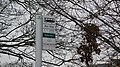 Horley Library bus stop flag in January 2011 2.JPG