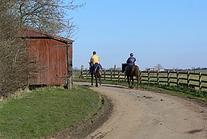 English: Horse riders at Newbold in Leicestershire