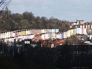 Clifton, Bristol - Houses in Cliftonwood and Hotwells, with Brandon Hill and Cabot Tower visible in the background.
