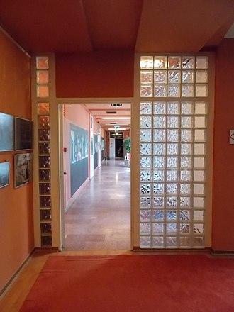 Daylighting - Glass brick wall, indoors