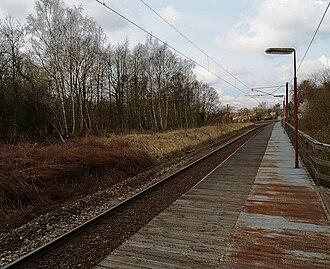 Høvelte station - Platform looking towards Allerød station