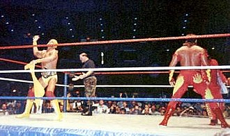 History of WWE - Hulk Hogan (left), Sergeant Slaughter (centre) and Brutus Beefcake (right) were mainstays of 1980's WWF wrestling