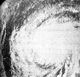 View of Hurricane Esther from Space. Due to limited technology, the black-and-white image is not clear.