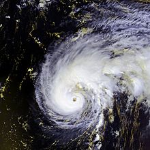 Satellite imagery showing a well-organized hurricane over the Central Atlantic