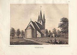 Husaby kirke på farvelitografi 1874