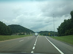 Interstate 81 in Tennessee - I-81 northbound at the SR 394 exit in Blountville