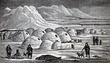 Community of igloos. (Illustration from Charles Francis Hall's Arctic Researches and Life Among the Esquimaux, 1865)