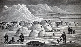 Charles Francis Hall - Inuit village near Frobisher Bay, from Hall's Arctic Researches and Life Among the Esquimaux, 1865
