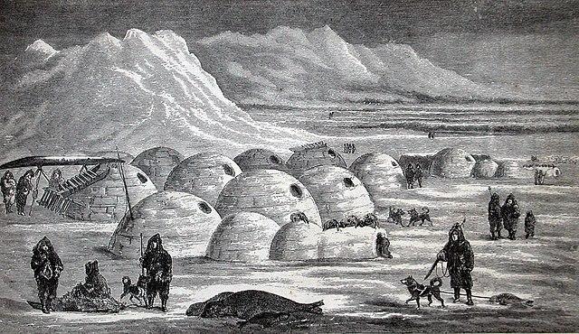 Illustration eines Eskimo-Dorfs aus dem 19. Jahrhundert