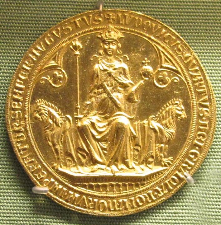 Ignoto, re ludovico IV, bull d'oro, 1329