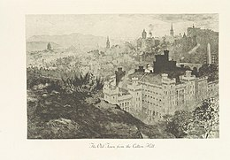 Image of the Old Town from Calton Hill taken from page 179 of 'Edinburgh: Picturesque Notes' (1896) by Robert Louis Stevenson. Etchings by A. Brunet-Debaines from drawings by S. Bough and W. E. Lockhart.