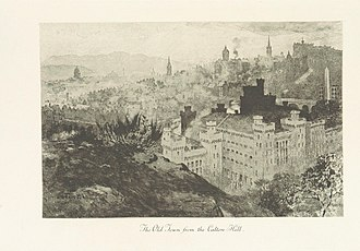 Old Town, Edinburgh - Image of the Old Town from Calton Hill taken from page 179 of 'Edinburgh: Picturesque Notes' (1896) by Robert Louis Stevenson. Etchings by A. Brunet-Debaines from drawings by S. Bough and W. E. Lockhart.