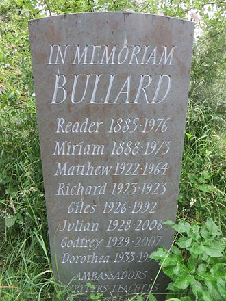 "Reader Bullard - ""In Memoriam Bullard"" memorial stone in HolywellCemetery, Oxford, England"