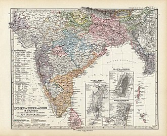 Stielers Handatlas - Map of India and Asia, printed in ''Stieler's'' Atlas.