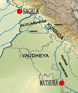 Location of the Yaudheya relative to other groups: the Audumbaras, the Vemakas, the Vrishnis, the Kunindas, the Pauravas and the Arjunayanas.