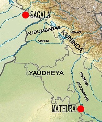 Post-Mauryan coinage - Location of the Vemakas relative to other groups: the Audumbaras, the Kunindas, the Vrishnis, the Yaudheyas, the Pauravas and the Arjunayanas.
