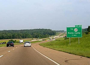Interstate 22 - Eastbound I-22 in Potts Camp