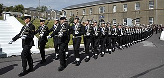 Haulbowline - Irish Navy recruits, passing out parade at Haulbowline (quadrangle of the former Ordnance Yard)