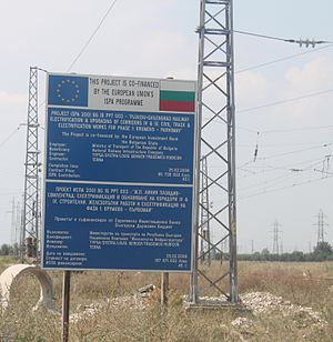 Instrument for Structural Policies for Pre-Accession - ISPA support in Bulgaria. Electrification of a railroad.