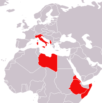 Military history of Italy during World War II - Italy and its colonies in May 1940 (Dodecanese islands and Tientsin concession in China are not shown)